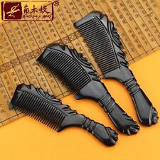 Natural Black Buffalo Horn Comb Hair Brush Fine Toothed Comb Massage Comb Health