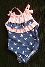 Baby clothes GIRL 3-6m swimsuit flamingoes Matalan pink/navy blue SEE MY SHOP!
