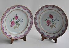 Chine - Paire d'assiettes en porcelaine - Famille Rose - XVIIIème