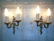 French a pair of metal bronze wall light sconces nicely  vintage