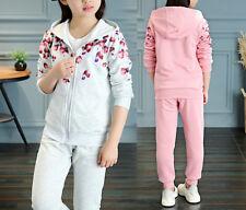 Completo Tuta Sportiva Pantaloni Felpa Bambina Girl Pants Hoodie Jacket SETCH09
