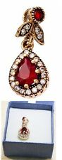 Russian stile 925 silver ruby CZ pendant rose gold plated 3 gram US seller New