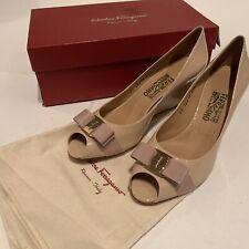 Salvatore Ferragamo Women's 11 B Sissi Patent Leather Open Toe Wedges Nude $599