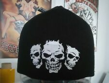 Bonnet Beanie Moto Fan Customs 3 Skuls Pirate Chopper Harley
