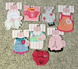 Girl Dog Clothes Outfits  Lot Of 8 Never worn NWT SIZE Extra Extra Small XXS