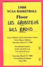 1988 NCAA BASKETBALL MARCH MADNESS PRESS PASS-PURDUE/DEPAUL/KANSAS STATE/MEMPHIS