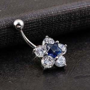 Blue Sapphire &Diamond 14K White Gold Over Navel Charm Flower Button Belly Ring