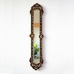 "Long Black Narrow wall mirror 35.4"" tall, Painting on glass Long Black Mirror"