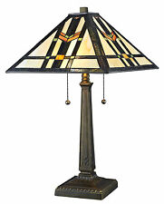 "Tiffany Style Handcrafted Mission Table Lamp 16"" Shade"