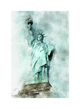 canvas vintage  old painting art print  statue libery new york poster framed USA
