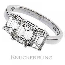 Emerald Engagement Three-Stone Fine Diamond Rings