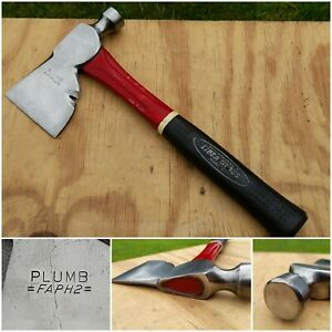 Vintage PLUMB = FAPH2 = Hatchet Fiberglass Handle Round Hammer Carpenters Axe
