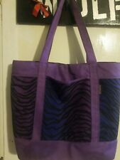 Purple Zebra Striped Diaper Bag