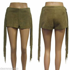 Topshop Leather Patternless Hot Pants Shorts for Women