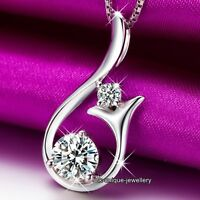 Hot Xmas Gift For Her- Silver Crystal Pendant Necklace Birthday Women Girlfriend