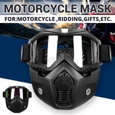 Motorcycle Modular Bike Riding Helmet Open Face Mask Shield Goggles Detachable