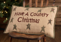 COUNTRY CHRISTMAS Accent Pillow Burlap Applique Star Plaid Holiday- VHC Brands