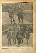 Général Pershing Maréchal Joffre Général Foch & Weygand WWI 1918 ILLUSTRATION