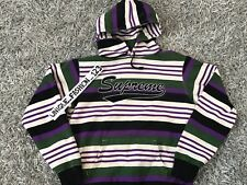 SUPREME STRIPED HOODED SWEATSHIRT M SCRIPT MULTI BLACK WHITE MEDIUM SS18 HOODIE