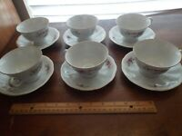 FAVOLINA CHINA--6 Cups & Saucers--FLORAL FAV16 PATTERN--Poland--FREE SHIPPING
