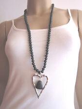 Modekette Damen Hals Kette Lagenlook Perlen lang XL Silber Schwarz Herz H990
