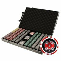 1,000ct. Ace Casino 14g Poker Chip Set in Rolling Aluminum Metal Carry Case