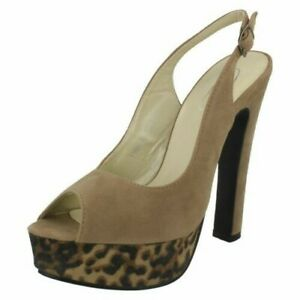 Ladies Spot On High Heeled Open Toe Sling Back 'Shoes'