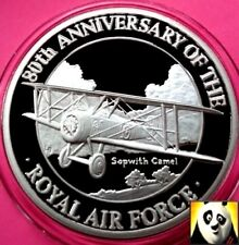 1998 TURKS AND CAICOS 20 Crowns Sopwith Camel Air Force RAF Silver Proof Coin