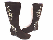 Floral Faux Suede Zip Boots for Women