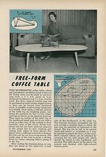 1958 How To Build Free Form Coffee Table Mid Century Modern MCM Atomic Age
