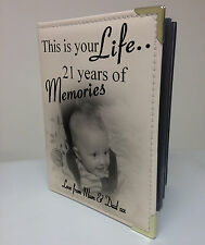 Personalised photo album, memory book, this is your life, 21st birthday gift