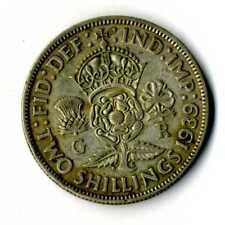 Moneda Gran Bretaña 1939 Jorge VI 2 florines británico plata .500 silver coin