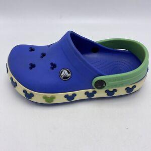 Crocs Crocband Disney Mickey Mouse  Boy's J 1  Blue Green Kid Clog Fun Unisex