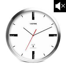 ONETIME MNU 5200 Weiße Aluminium Funkwanduhr mit LAUTLOSEM Uhrwerk Ø 30,5cm