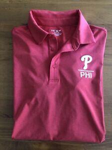 Under Armour Philadelphia Phillies Golf Polo Mens Size Small EUC