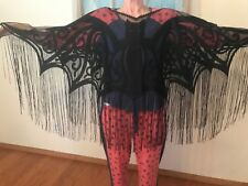 HERITAGE LACE BLACK HALLOWEEN BAT CAPE OR TABLE TOPPER AWESOME ITEM #A187