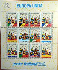 1993  Italia  Europa Unita   Foglietto  750 lire  12 valori
