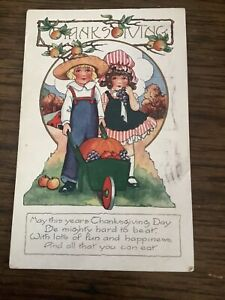 Vintage Whitney Thanksgiving Day Postcard Boy Girl Overalls Wheel Barrel