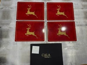 Cala Home 4 Premium Placemats Cork Backing Red Gold Reindeer