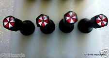 4 Tyre Tire Resident Evil Black 4 A/Theft Car Valve Caps Set Bike Umbrella Corp