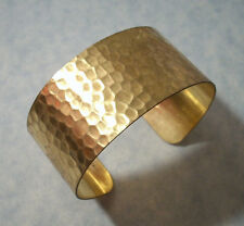 Adjustable Hammered Cuff Bracelet 6.25 Inch Solid Brass Made In USA