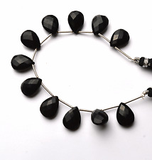 """Best BLACK Chalcedony FACETED PEAR SHAPE Briolettes Beads 12 - 13 MM  6"""" STAND"""