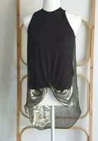 Sass and Bide Silk Blend Disco Black Gold Oversize Sleeveless Shirt Size XS 8