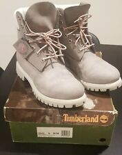 Men Timberland Boots 6' Gray Suede/ Pink Stitching Sz 9/ Eur 43 Pre Owned