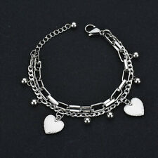 Stainless Steel Link Heart Shaped Bracelet and Bangle Steel Simple Bracelet
