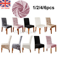 Crushed Velvet Dining Chair Covers Stretchable Protective Slipcover Party Home