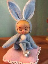 Vtg Japan Knee Hugger Elf Pixie W/ Bunny Rabbit Ears Hard Face Plastic Easter