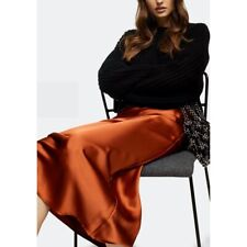 New Women's Topshop Rust Satin Bias Midi Skirt 4