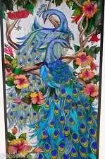SPECTACULAR *2 ADORING PEACOCKS * HIBISCUS 21x41 PEACOCK ART GLASS WINDOW PANEL
