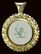 HEAVY 14k LION  CREST PENDANT on VF ANTIQUE CHINESE MOTHER O'PEARL GAME COUNTER